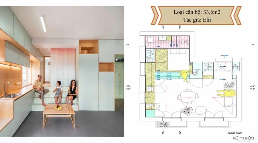 thiết kế căn hộ với nội thất 33.6m2