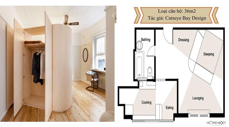 thiết kế căn hộ với nội thất 36m2