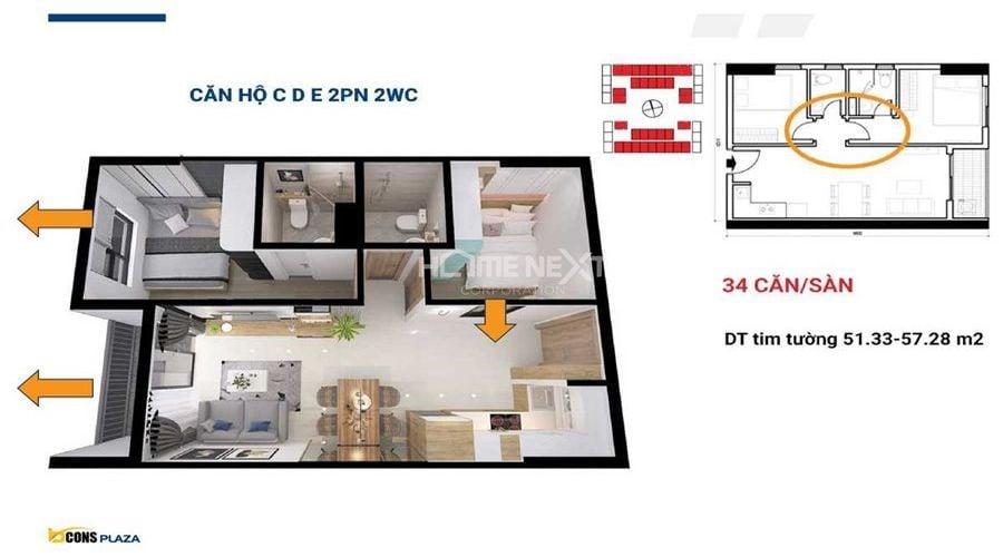 Thiết kế căn hộ C; D; E