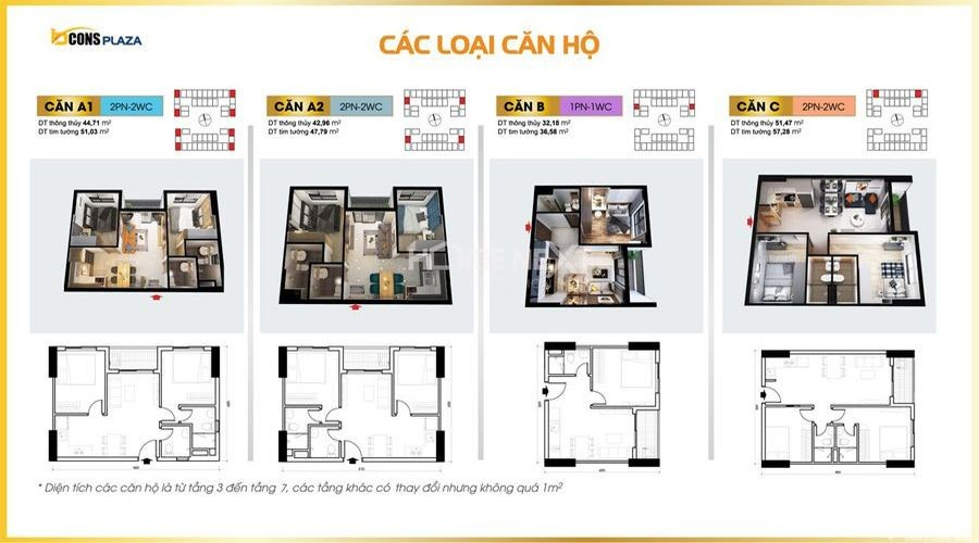 Bản vẽ thiết kế căn hộ từ căn A1 đến căn C