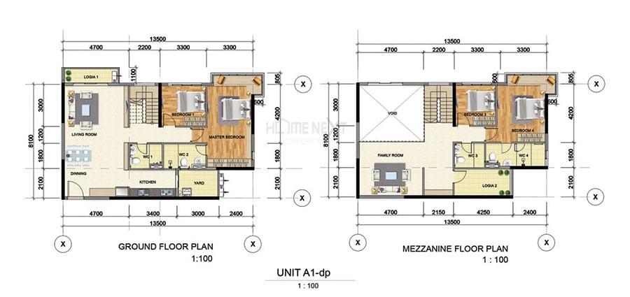 Mẫu căn hộ Duplex A1 của Astral City Bình Dương