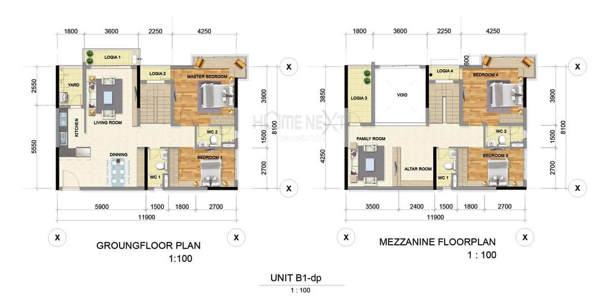 Mẫu căn hộ Duplex B1 của Astral City Bình Dương