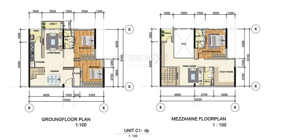 Mẫu căn hộ Duplex C1 của Astral City Phát Đạt