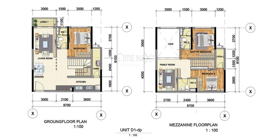 Mẫu căn hộ Duplex D1 của căn hộ Phát Đạt