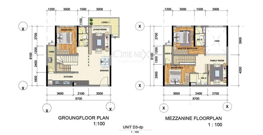 Mẫu căn hộ Duplex D3 của Phát Đạt Bình Dương