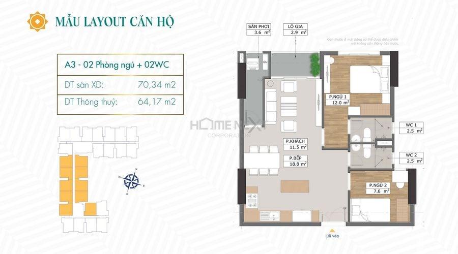 Thiết kế căn hộ A3 chung cư Phú Đông Sky Garden