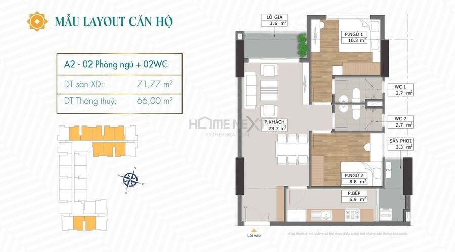 Thiết kế căn hộ A2 chung cư Phú Đông Sky Garden