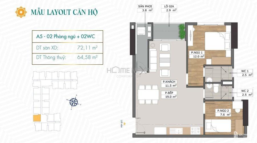 Thiết kế căn hộ A5 chung cư Phú Đông Sky Garden