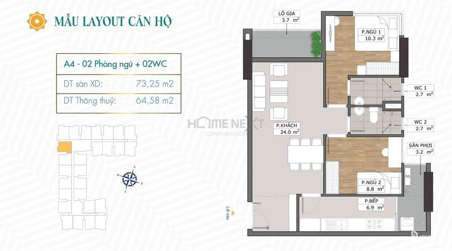 Thiết kế căn hộ A4 chung cư Phú Đông Sky Garden
