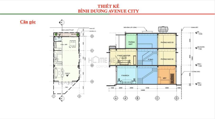 Mặt bằng căn góc 1 trệt 2 lầu tại Avenue City