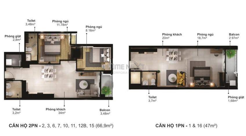 Thiết kế căn hộ 2PN và 1PN của dự án Eco Xuân block C