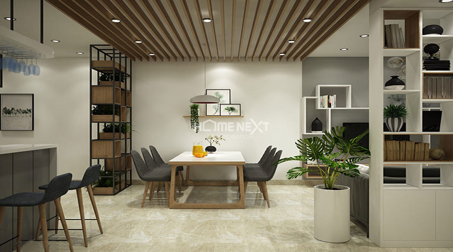 Sử dụng gam màu nhẹ nhàng cho màu tường và tạo điểm nhấn cho căn hộ bằng màu sắc của tối của ghế