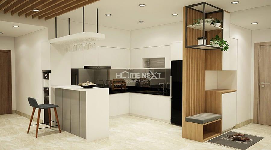 Khu vục bếp trở nên thoáng đãng hơn khi sử dụng các trang thiết bị hiện đại và đi âm tường