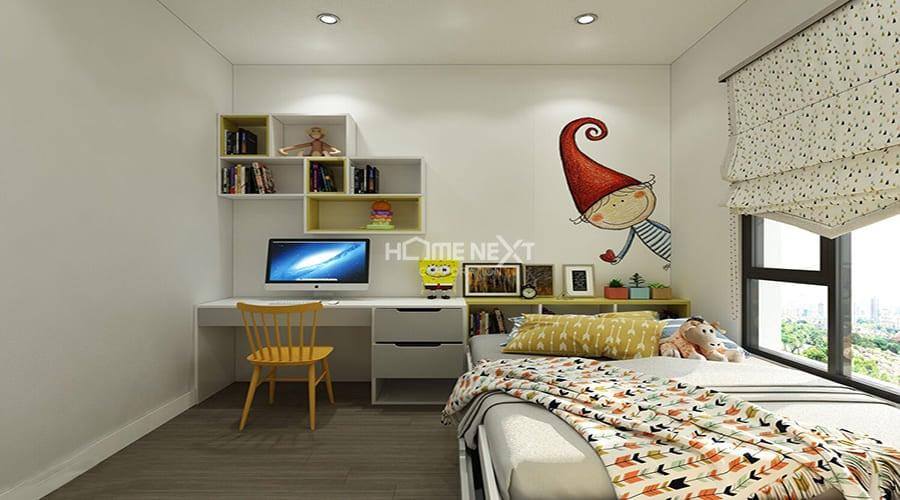 Căn phòng cho bé được thiết kế tối giản nhất có thể, tại điểm nhấn bằng các họa tiết tranh vẽ trên tường