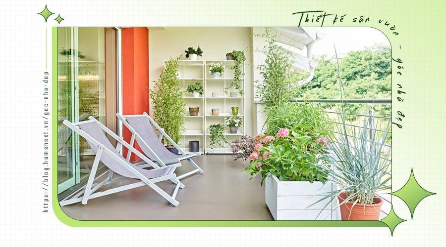 Không gian vườn đẹp tại ban công