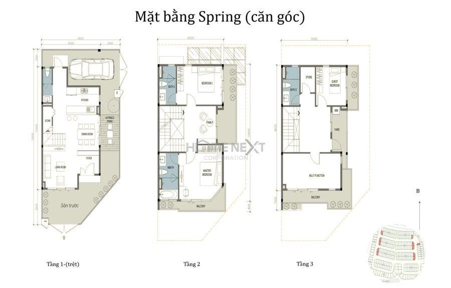 Nhà phố The Spring căn góc
