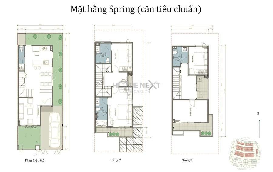 Mẫu nhà phố The Spring căn tiêu chuẩn