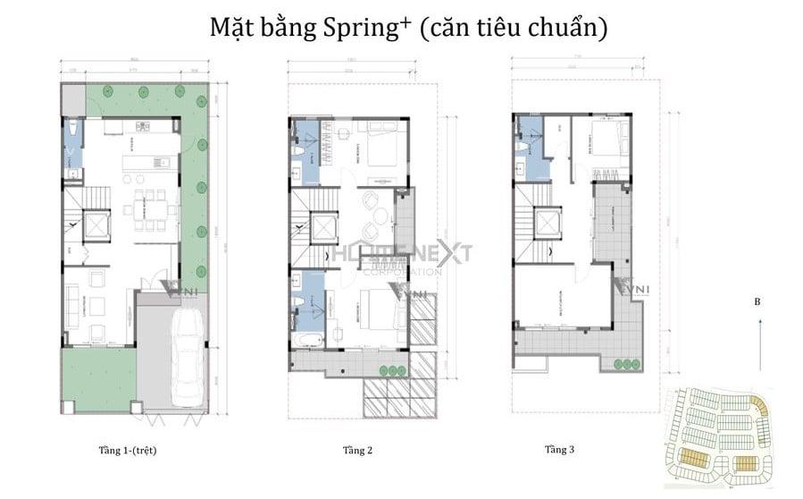 Mẫu nhà phố The Spring + căn tiêu chuẩn
