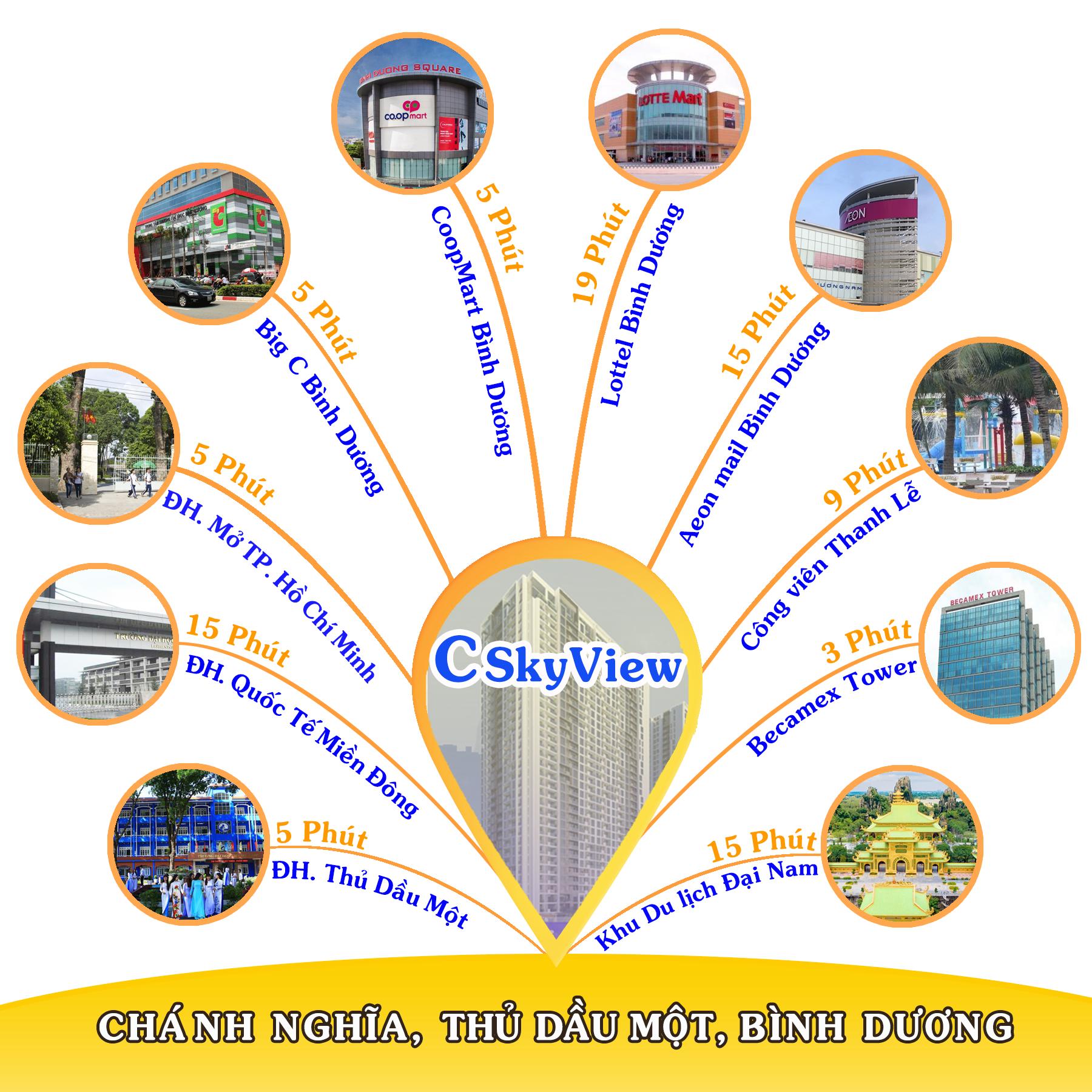 Căn hộ C SkyView Bình Dương có đầy đủ các tiện ích đẳng cấp đáp ứng nhu cầu khách hàng khi sở hữu nhà ở tại trung tâm thành phố Thủ Dầu Một.