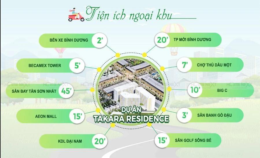 Tiện ích ngoại khu đa dạng của Takara Residence