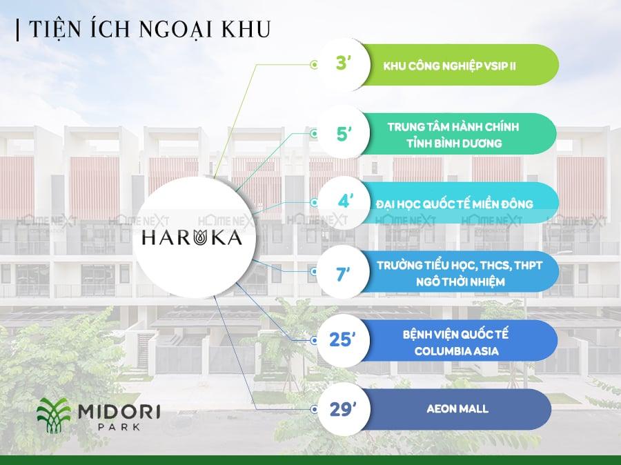 Tiện ích ngoại khu dự án nhà phố Haruka Midori Park