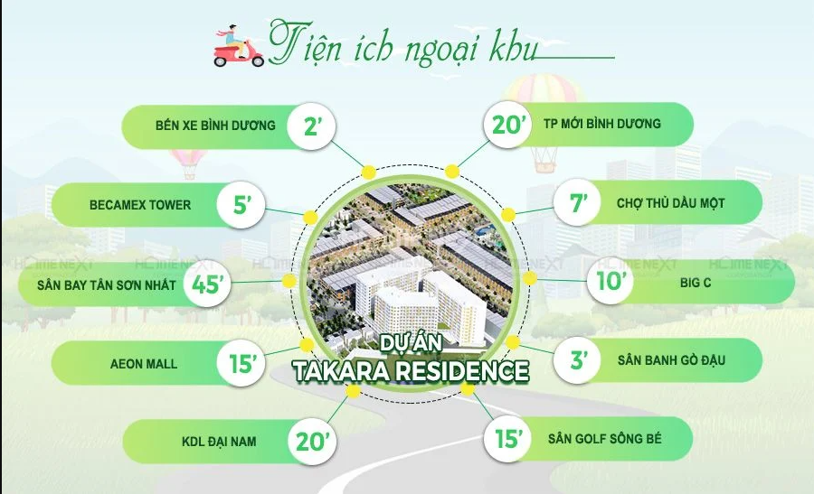 Tiện ích ngoại khu dự án nhà phố Takara Residence