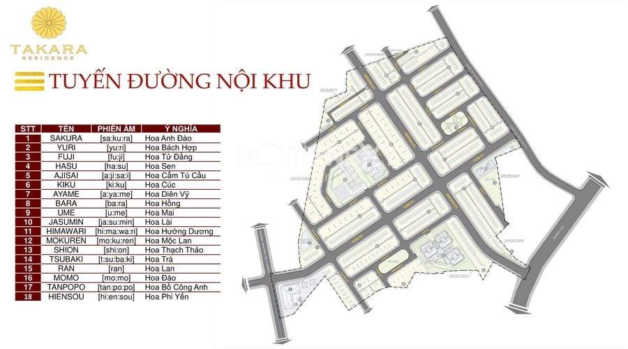 Mặt bằng bố trí các tuyến đường nội khu