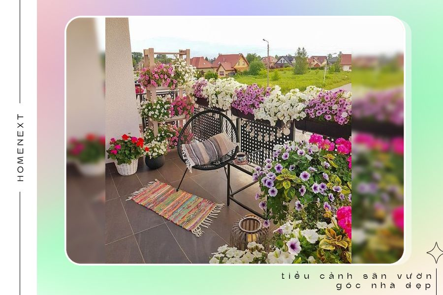 Sân vườn nhỏ tại ban công nhà