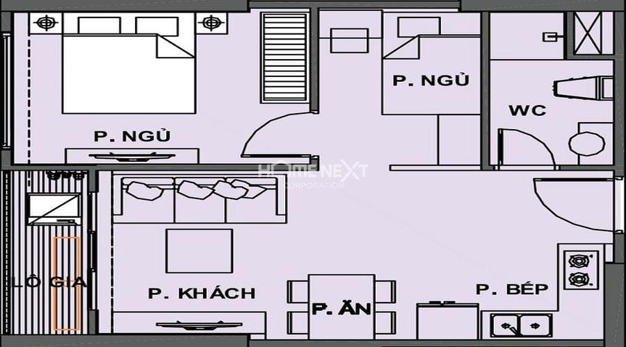 mặt bằng căn hộ phân khu the Origami