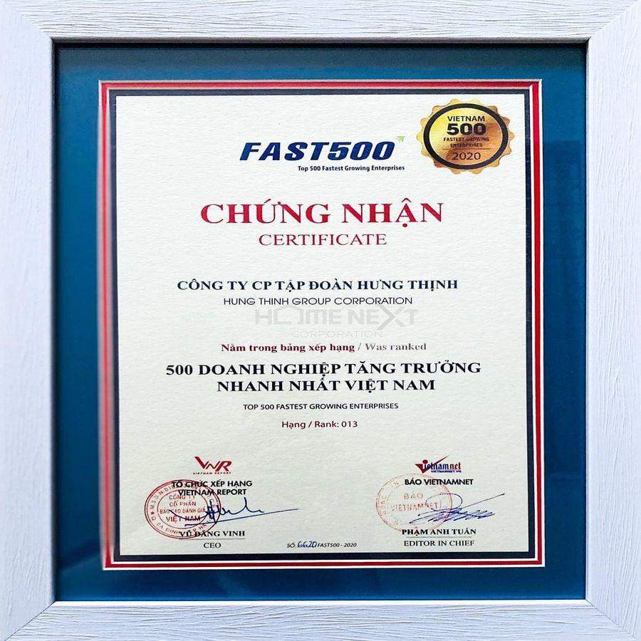 Chứng nhận Top 500 doanh nghiệp tăng trưởng nhanh nhất Việt Nam 2020