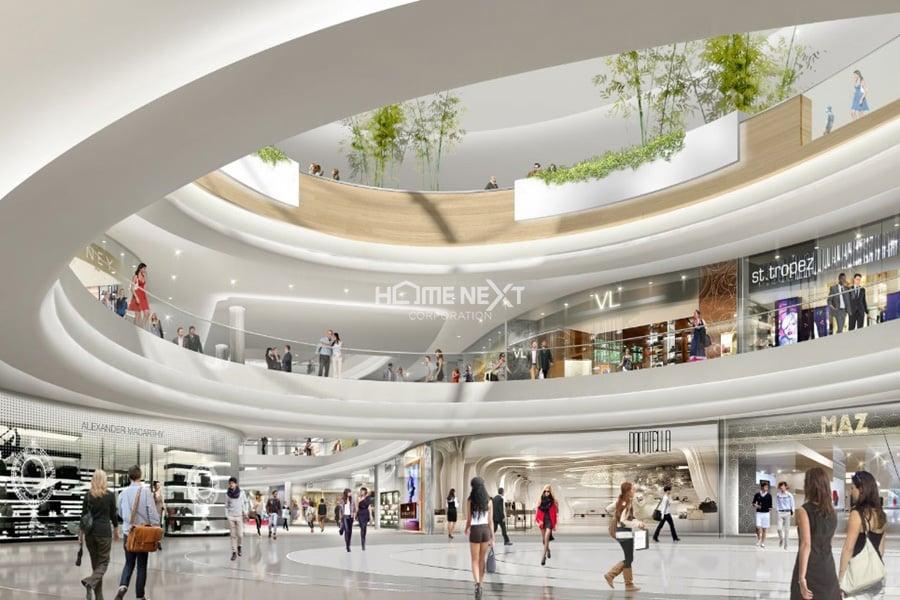 Trung tâm thương mại 3 tầng ở khối đế dự án