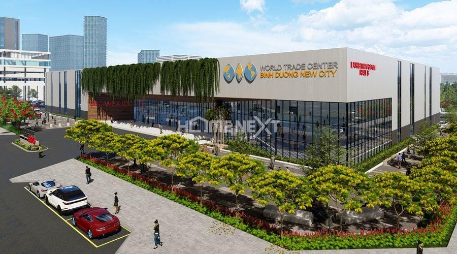 Cảnh khu trung tâm triển lãm WTC thuộc phần tổng thể tòa nhà Becamex