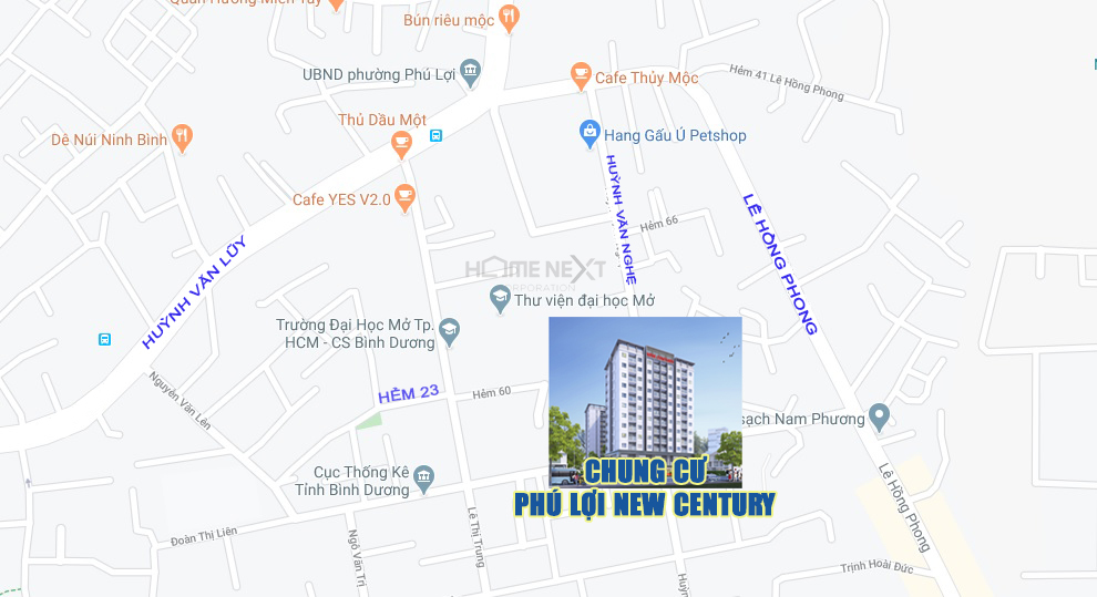 Vị trí khu vực dự án căn hộ Phú Lợi New Century