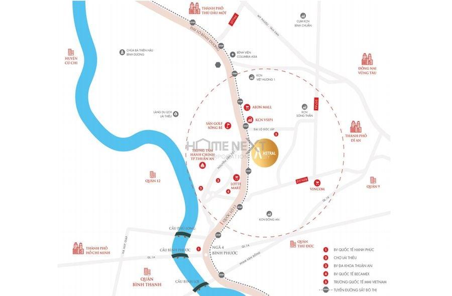 Vị trí dự án Astral City Thuận An – Bình Dương