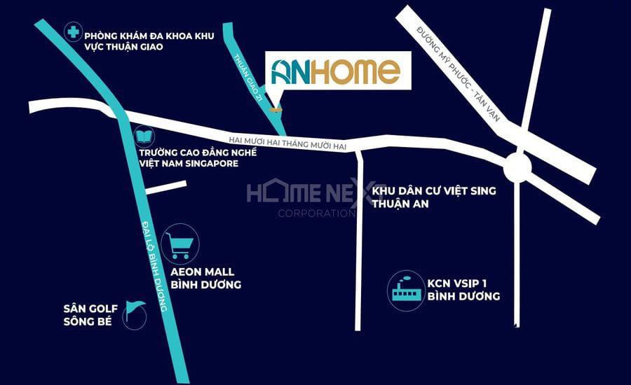 Vị trí dự án căn hộ AnHome Thuận An