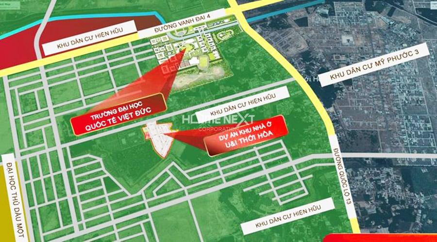 Vị trí khu dân cư U&I Thới Hòa - Avenue City