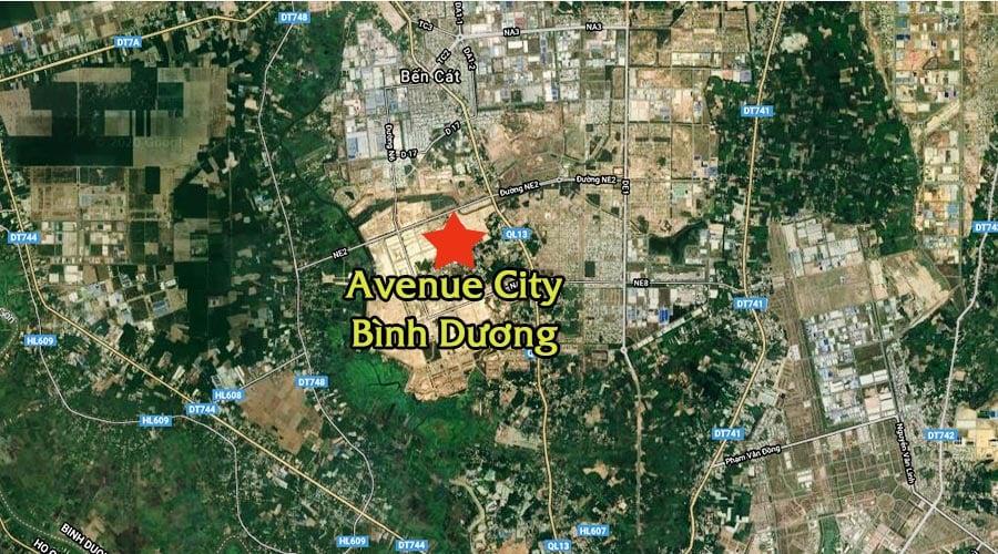 Vị trí dự án Bình Dương Avenue City được định vị trên google map