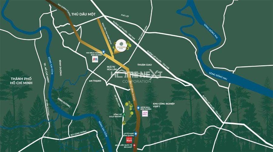 Vị trí dự án Anderson Park Bình Dương, Nguyễn Thị Minh Khai, Thuận Giao, Thuận An, Bình Dương