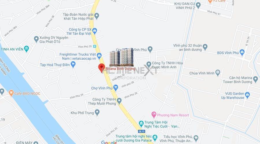 Vị trí căn hộ Rivana Thuận An