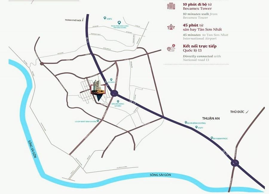 compass one thuộc mặt tiền đường Trần Phú ( Hoàng Văn Thụ nối dài), khu dân cư Chánh Nghĩa, Tp.Thủ Dầu Một, Bình Dương