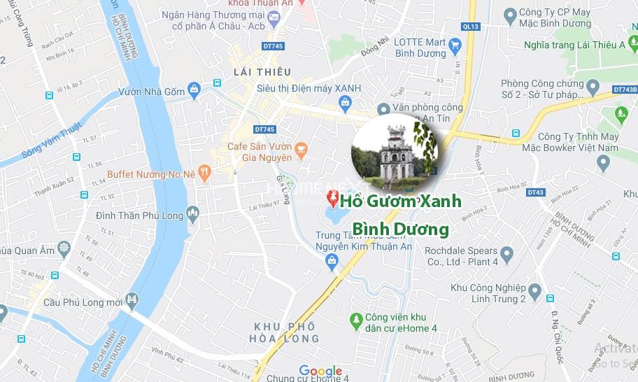 vị trí Hồ Gươm Xanh Thuận An City