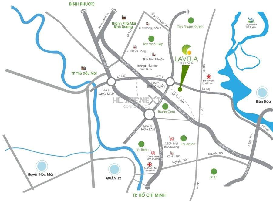 Vị trí dự án Lavela Garden, Bình Chuẩn, Thuận An, Bình Dương