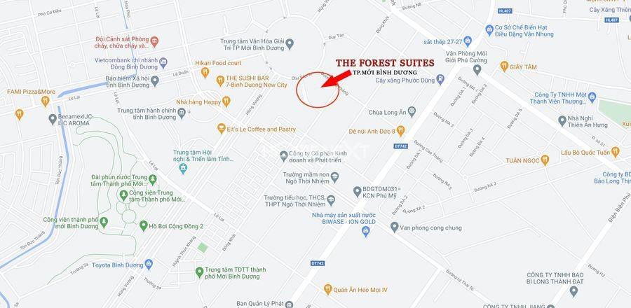 Vị trí dự án The Forest Suites định vị trên google map
