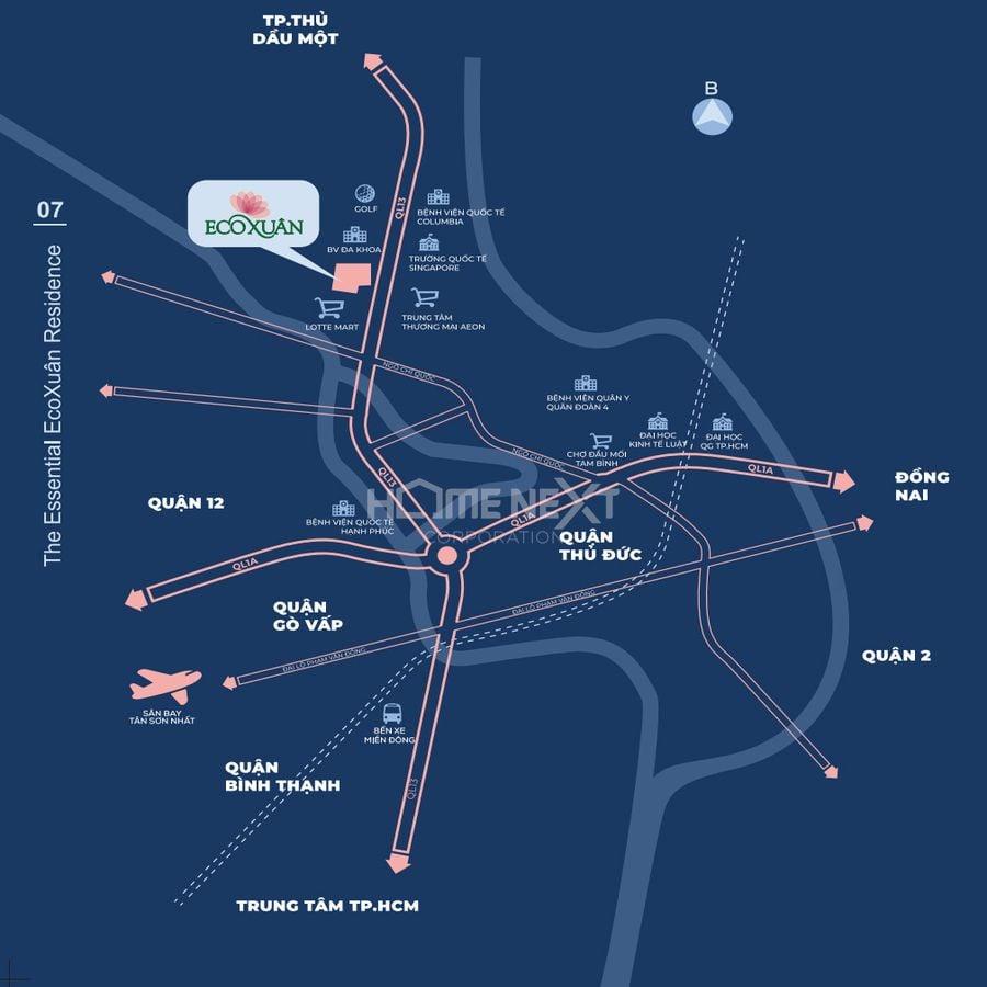 Vị trí căn hộ chung cư Eco Xuân tại Quốc lộ 13, Thuận An, Bình Dương