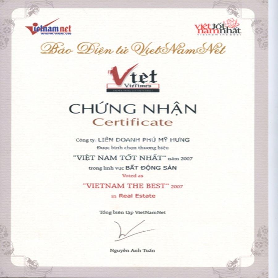 Chứng nhận Top 500 doanh nghiệp lớn nhất Việt Nam năm 2007 do báo Vietnam Net bình chọn